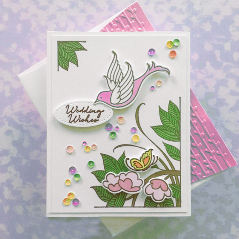 English 2019 9pcs Floral Essence Clear Stamp and Dies for Scrapbooking Card
