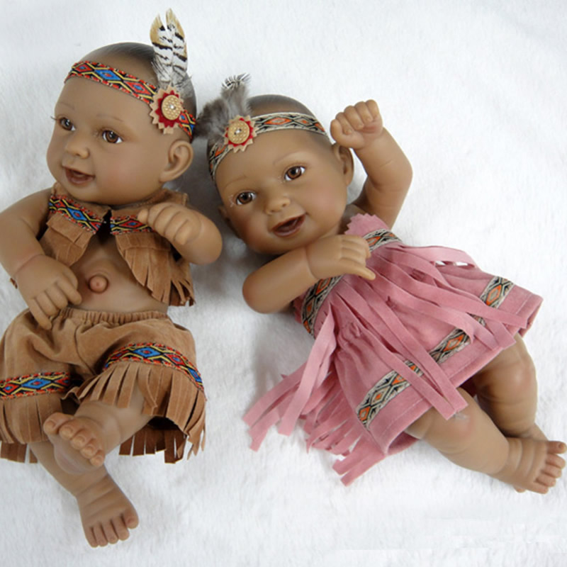 Educational mini twins 11 inch native american baby girl and boy dolls lifelike newborn babies that look real kids birthday gift in dolls from toys