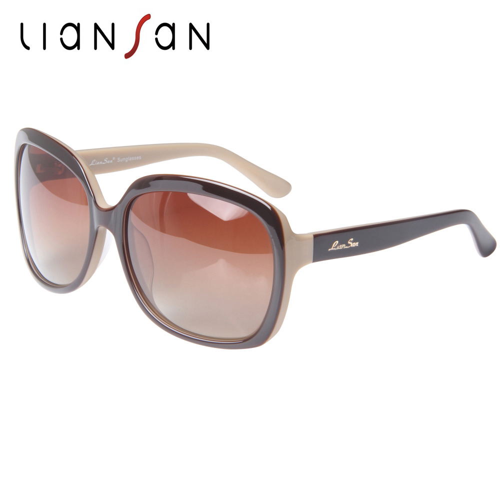 LianSan Vintage Oversized Square Acetate font b Polarized b font Sunglasses Women Men Luxury Brand Designer
