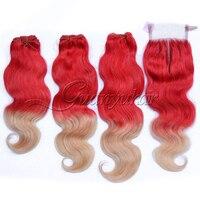 Guanyuhair красный Ombre светлые волосы Связки с закрытием 4X4 бразильский объемная волна натуральная человеческих волос 2 тон Красный /613 Ombre волос