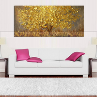 100% Hand painted Abstract Gold Tree Oil Painting Modern Home Decor Wall Art Acrylic Paintings on Canvas For Living Room Decor