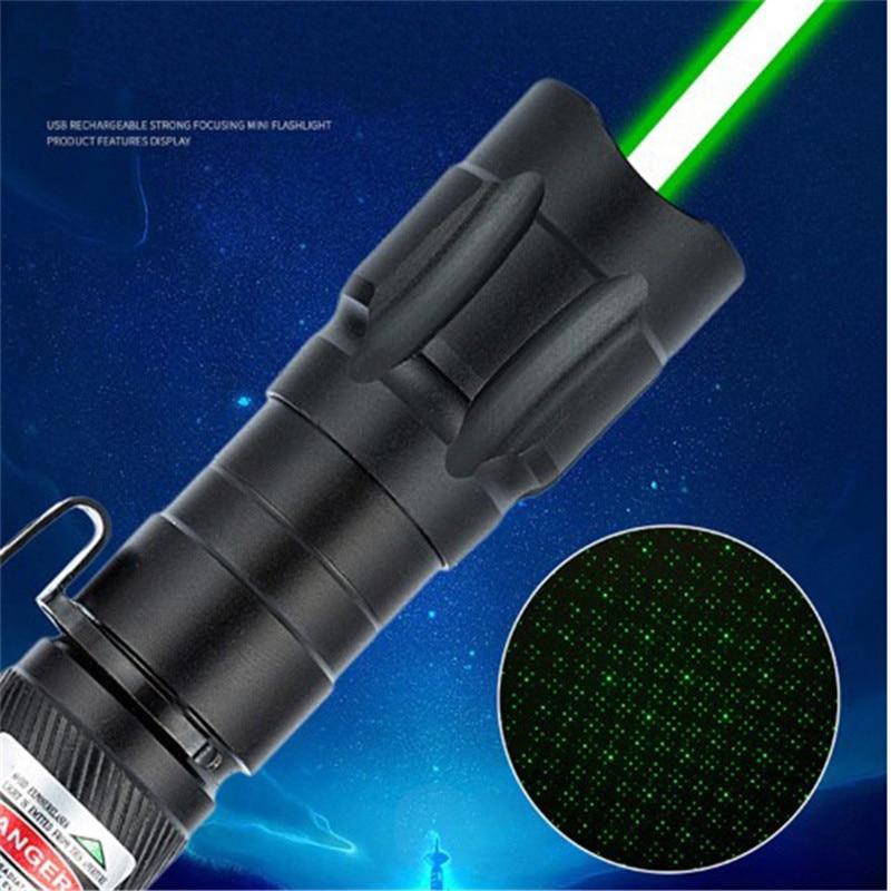10000m High Quality Alloy Clip Green Laser Pointer Multiple Pattern Focus Laser Sight Portable Waterproof Lazer Pointer Pen