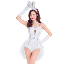 Women White Sexy Bunny Suit Halloween Lingerie Costume Playboy Playmate Romper Cosplay For