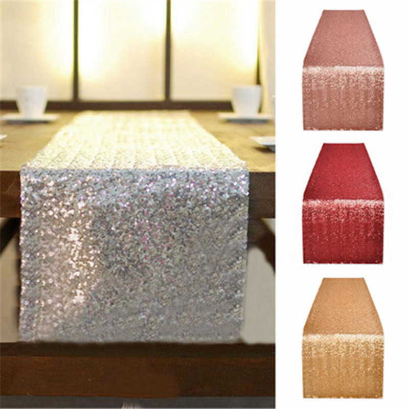 10pcs/lot Sparkly Rose Gold Sequin Table Runner for Wedding Party Christmas Table Runner Tablecloth Decoration