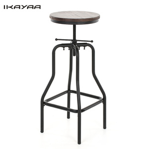 iKayaa FR Stock Dining Bar Stool Industrial Style Adjustable Swivel Bar Stool Pinewood Top Kitchen Dining Breakfast Chair
