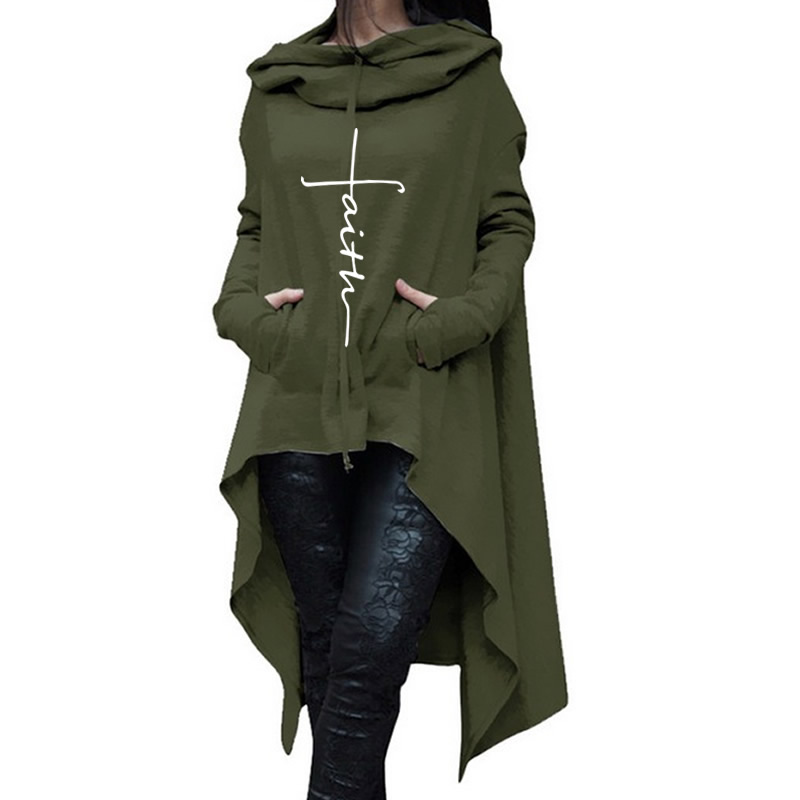 2018 nueva moda fe imprimir sudadera mujeres Hoodies mujeres Kawaii impresión suelta patrón cosechado y sudaderas para