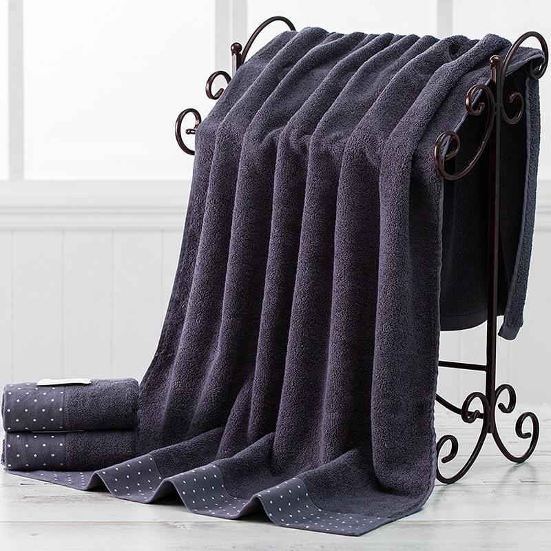 2pcs / Set 100% Cotton Absorbent Towel Set Men Dot 1pcs 70x140cm Beach Bath Towel For Adults 1pcs 34x76cm Washcloth