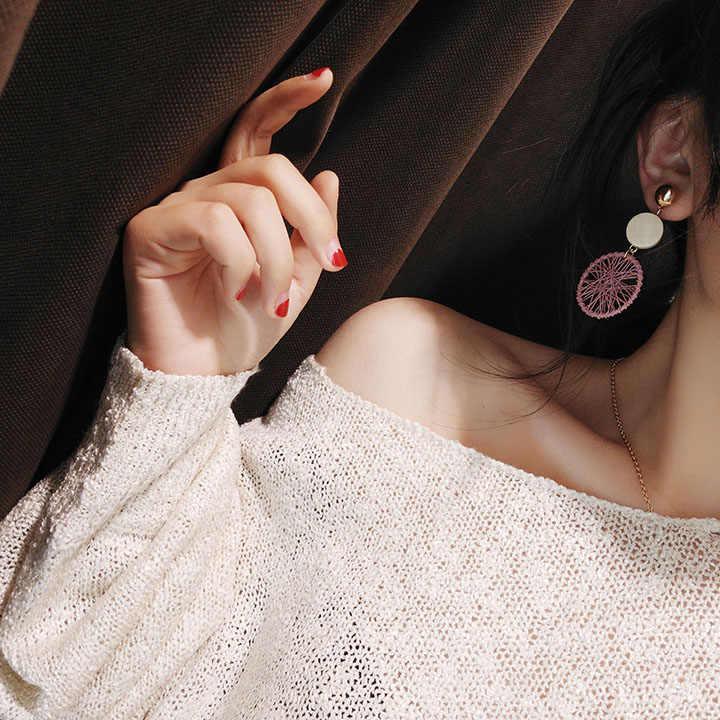 ใหม่ยุ้ย DIY ไม้วงกลมขนาดใหญ่ต่างหูหญิงอารมณ์บุคลิกภาพกลวงตาข่ายจี้ต่างหูยาว multicolor