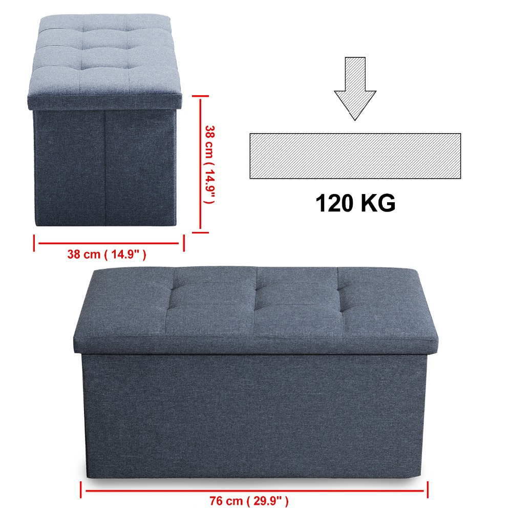 Samincom Classics Foldable Tufted Storage Bench Dark Gray,Light Gray,Beige Ottoman Home Stool 30\