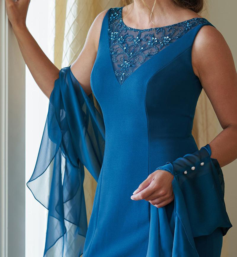 2019 Blue Elegant Chiffon Sheer Neck With Beads Sequins Mother Of The Bride Dress With Bolero Vestido De Festa Longo