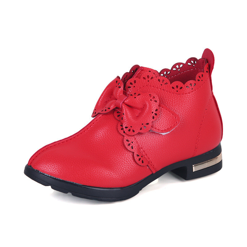 Children Princess Leather Shoes Little Kids Girls Shoes School Big Girl Boots Low-heeled Dress Party Shoes 2-12 Years Old
