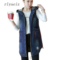 Rlyaeiz 2018 Spring Autumn Womens Vest Hooded Denim Jackets Medium Long Zipper Sleeveless Coat Pockets Waistcoat Vests PLus Size