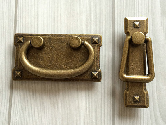 2 3 Vintage Style Dresser Pulls Drawer Pull Handles Antique Bronze Square Cabinet Door Handle Drop Bail Back In From Home