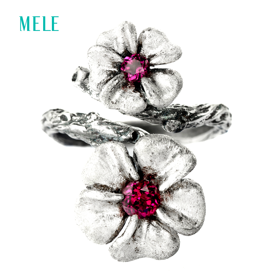 MELE Natural garnet 925 sterling silver ring for women 13mm and 10mm for Plum blossom flowers