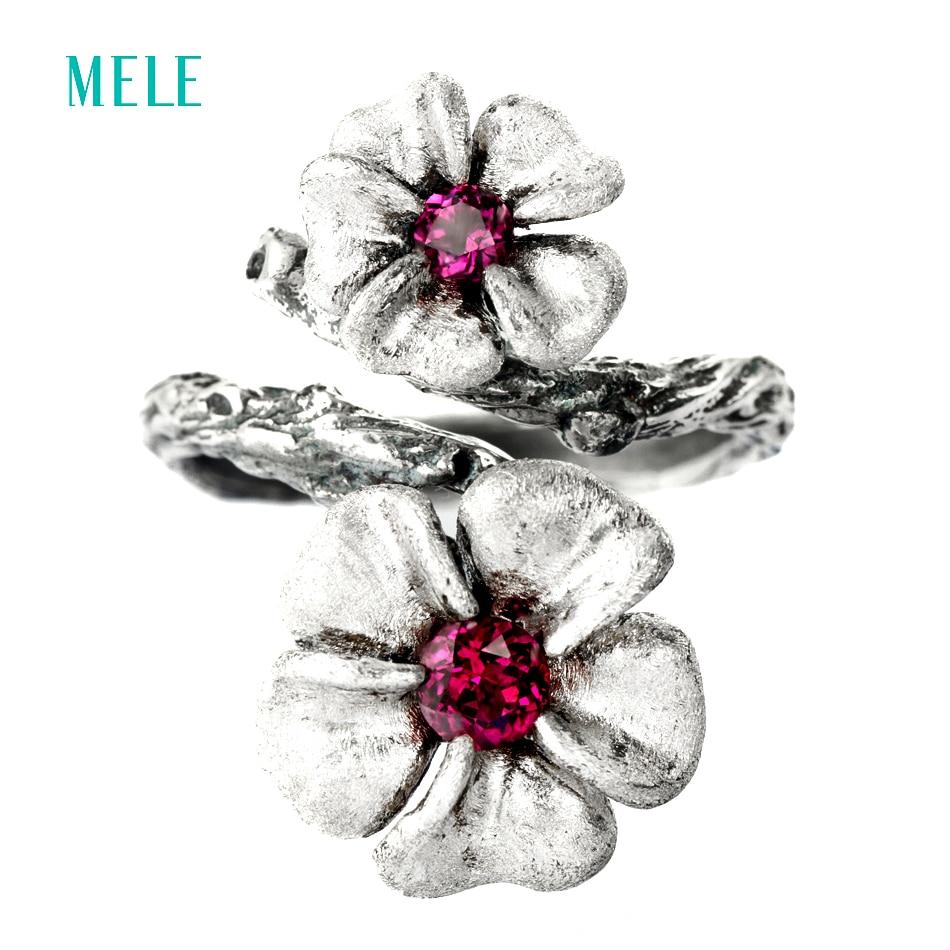 Természetes gránát ezüst gyűrű, 13mm és 10mm a virágok - Finom ékszerek