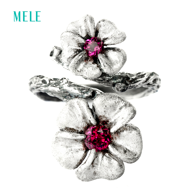 MELE Natural garnet 925 sterling silver ring for women, 13mm and 10mm for Plum blossom flowers size vintage gemstone jewelry