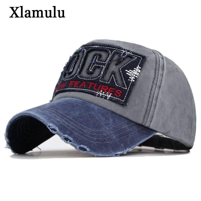 Xlamulu Fashion Brand Men Baseball Cap Snapback Hats For Women Letter Bone Gorras Casquette Washed Cotton Male Dad Hat Men Cap