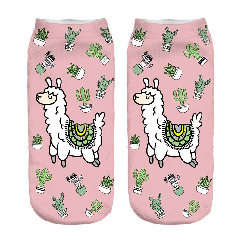 The Cactus Llama New Hot Women Hosiery Printing Socks Girl Funny Meias Low Cut Ankle Sock Calcetines Christmas Gift Socks