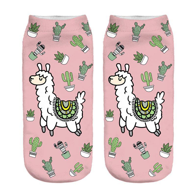 The Cactus Llama New Hot Women Hosiery Printing   Socks   Girl Funny Meias Low Cut Ankle   Sock   Calcetines Christmas Gift   Socks