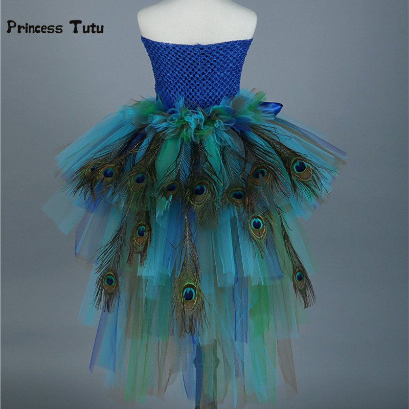 Pure Handmade Colorful Girls Peacock Tutu Dress Kids Party Tutus With Feather Girl Tulle Dresses Children Photography Clothing cute girls purple long tutus dress kids handmade fluffy tulle princess dress with flower satin bow children party tutus 1pcs