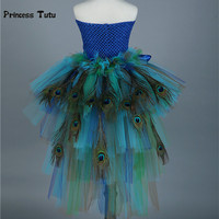 Pure Handmade Colorful Peacock Girl Tutu Dress Kids Party Tutus With Feather Girl Tulle Dresses Children