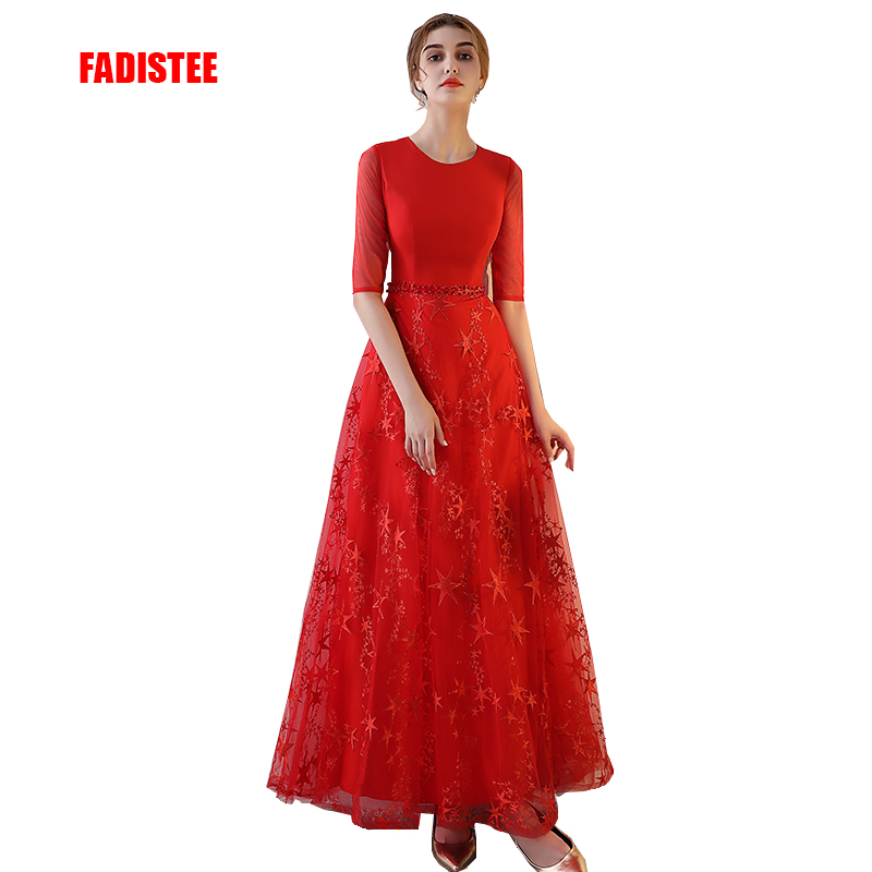 FADISTEE New arrival elegant party prom dress Pearls frock lace evening dresses sashes O neck A line long style dress