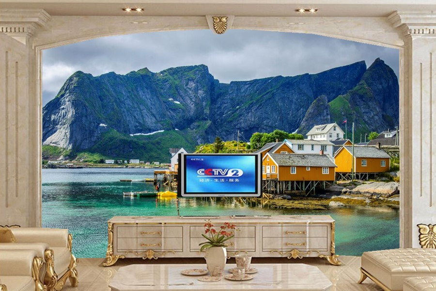 Custom 3d murals,Norway Houses Mountains papel de parede wallpaper,living room sofa TV wall bedroom 3d room wallpaper landscape custom 3d wall murals wallpaper luxury silk diamond home decoration wall art mural painting living room bedroom papel de parede