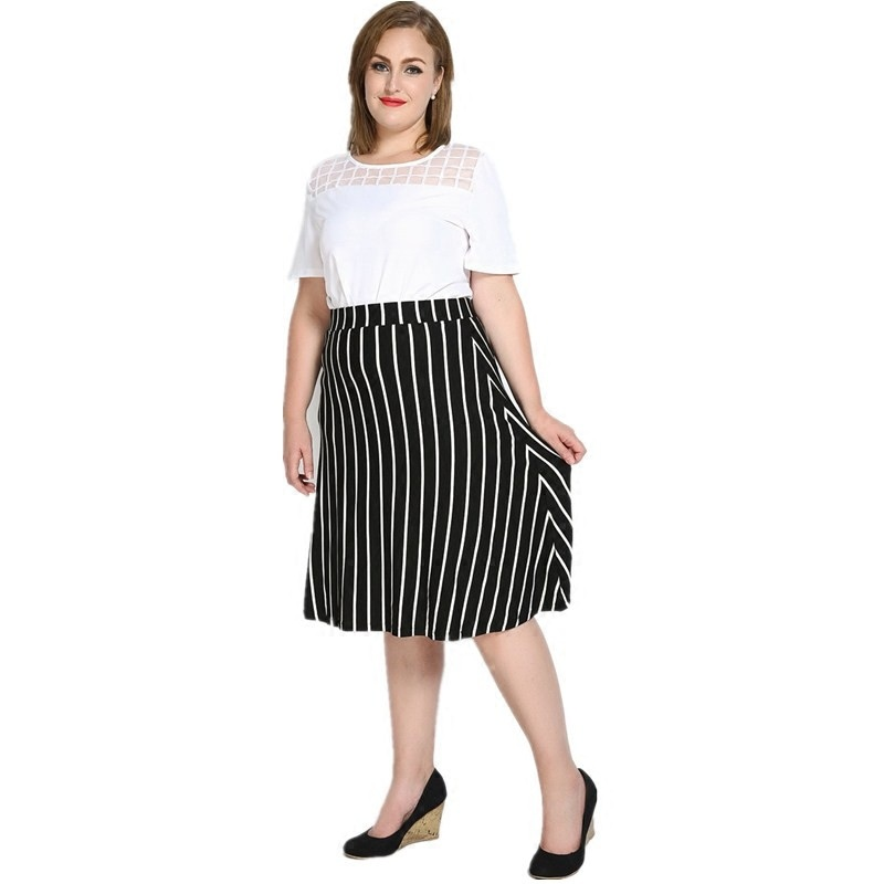 072c580400 Hot sale women plus size loose wild vertical stripes skirts fashion high  waist big size skirts womens A line skirt ZK1075-in Skirts from Women's  Clothing on ...