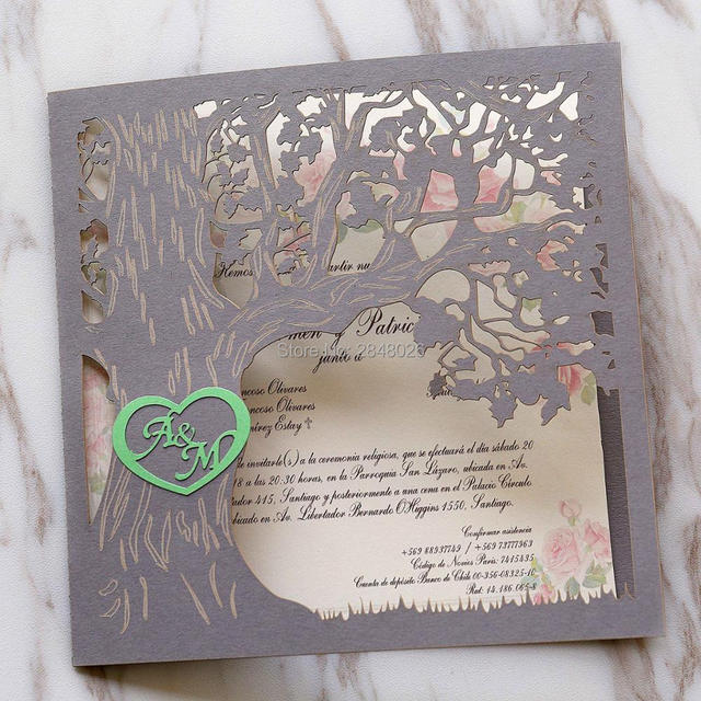 50pcs custom Love Story Tree Wedding Invitation Laser cut Elegant