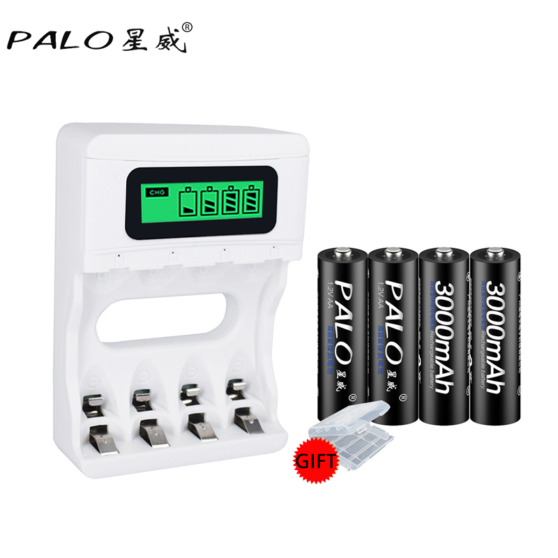 PALO 4pcs aa ni-mh rechargeable battery aa batteria 1.2v 2a rechargeable battery for digital camera with LCD display batterychar