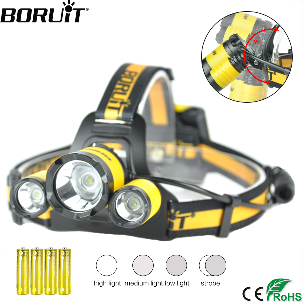 BORUiT XM-L2 R5 LED Hadlamp 4-Mode Memory Function Headlight  Waterproof Head Torch Camping Hunting Flashlight By AA Battery