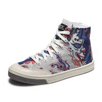 Japanese Style Hand Painted 6 Eye Flying Fish Mens Canvas Shoes Skateboarding Boots Youth Totem Sneakers Street Sports Jogging
