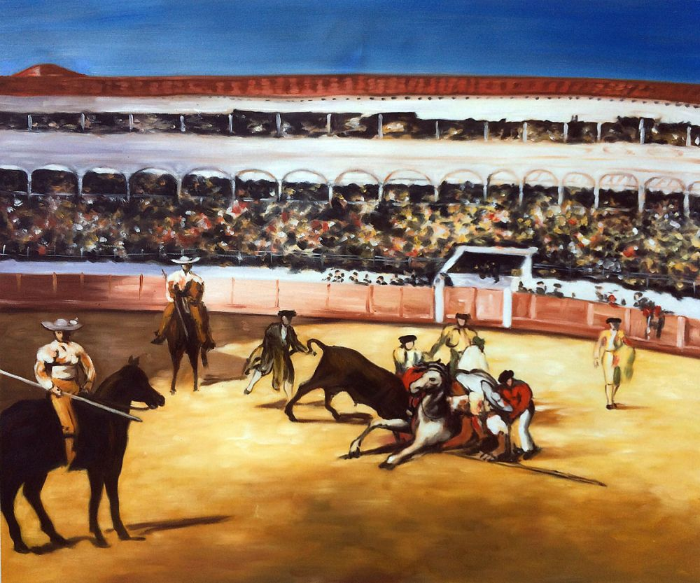 Hand painted Living Room Wall Painting Bullfight by Edouard Manet Modern Oil Painting Abstract Art Pictures