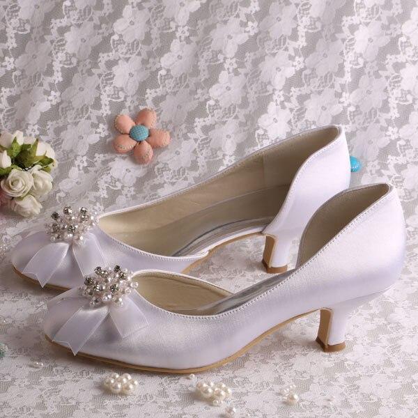 57f0333a7 (20 Cores) Branco Pérola Casamento Sapatos Salto Baixo Bombas Pérolas  Saltos Vermelhos para As