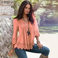 Hot Sale Fashion Women T-Shirt V-neck Long Sleeve Casual Lady Tops Chiffon Lace Patchwork Female T-Shirt vetement femme