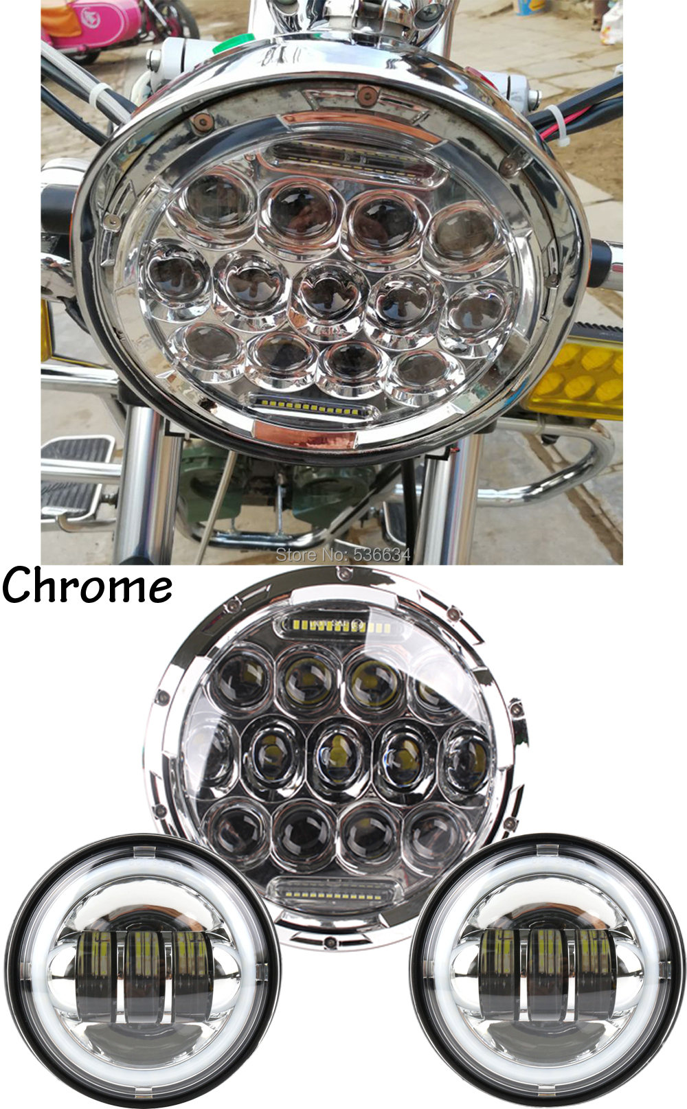 7Inch LED Headlight Projector Daymaker with Matching 4.5Inch LED Passing Lamps Fog Light For Harley Davidson Electra Glide Ultra