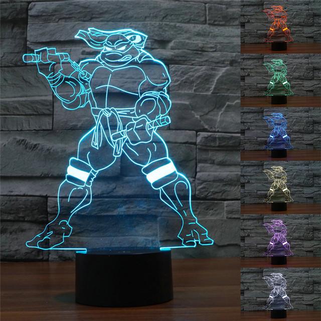 Visual 3D Ilusão Luz Lâmpada Colorido Gradiente Luz Da Noite LEVOU Teenage Mutant Ninja Turtle USB Acrílico Candeeiro de Mesa Frete Grátis