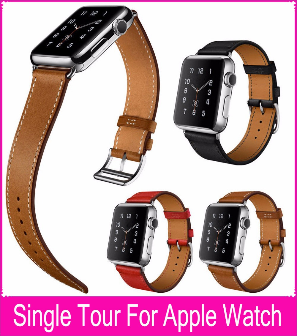 100% Genuine Leather Single Tour for Apple Watch Single Tour Bracelet Leather Watchband 38mm and 42mm with 1:1 Original Adapters