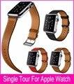 100% couro genuíno único posto de para Apple relógio único posto de pulseira pulseira de couro 38 mm e 42 mm com 1:1 Original adaptadores