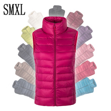 smxl plus size S-4XL 90% white duck down women winter Ultra Light Duck Down sleeveless Jacket waistcoat autumn red black vest