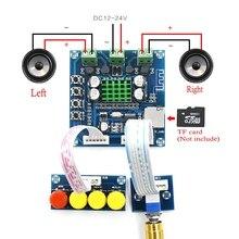 Placa amplificadora digital Bluetooth 24V DC 12V, 15W + 15W, estéreo 2,0, control de tonos con placa de amplificador de Audio, reproducción de tarjeta TF