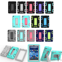 Kindle Fire 7 Case 2015 Kids Safe Armor Shockproof Heavy Duty Silicone PC Tablet Stand Case