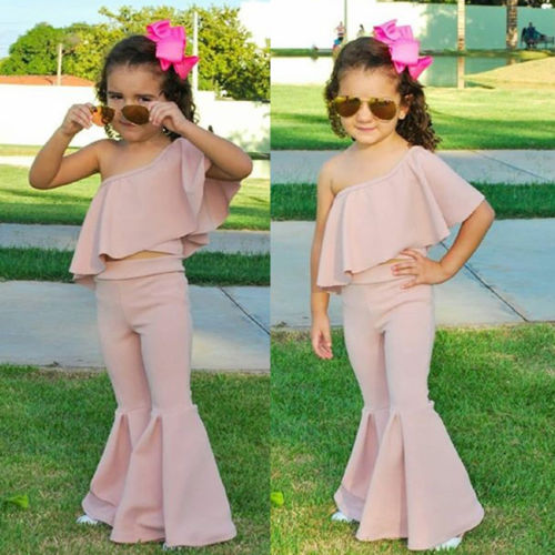 Summer Baby Kids Girl Top Quality Outfits Off Shoulder Solid Color Ruffle Tank Top Long Flare Pants 2Pcs Set Fashion New Clothes