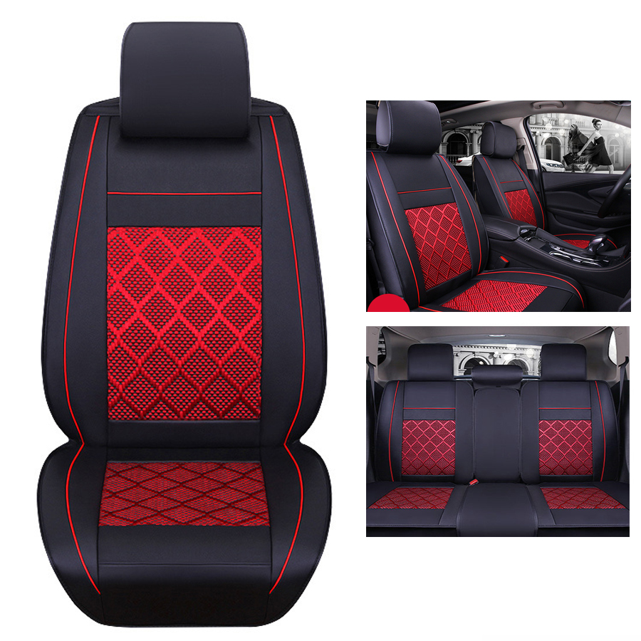 Universal Car Seat Covers Cushion Pad Fit Waterproof PU Leather Front +Rear Cushion Mess Fabric Seat Cover 5 Seats