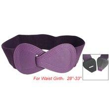 Hot Sale 8 Shaped Faux Leather Buckle Elastic Purple Cinch Belt For Ladies