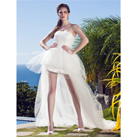LAN TING BRIDEPrincess Strapless Asymmetrical Tulle Made To Meature Wedding Dresses with Appliques Little White Dress