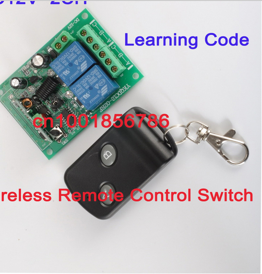 HOT!! smart home! 200M Wireless Remote Switch Control Learning Code 12V 2Channels 1 Receiver & 1Transmitters 315/433MHz Frequenc