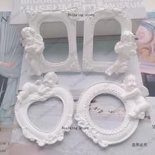 Angel Baby Frame ароматический гипсовый пресс-форма для украшения дома фоторамка помадка торт Силиконовая форма DIY глиняная рамка форма