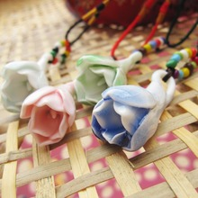 Ceramic Necklaces Handmade Flower Pendants Vintage 2015 Fashion Jewelry Candy Color Accessories Charm for Women Wholesale