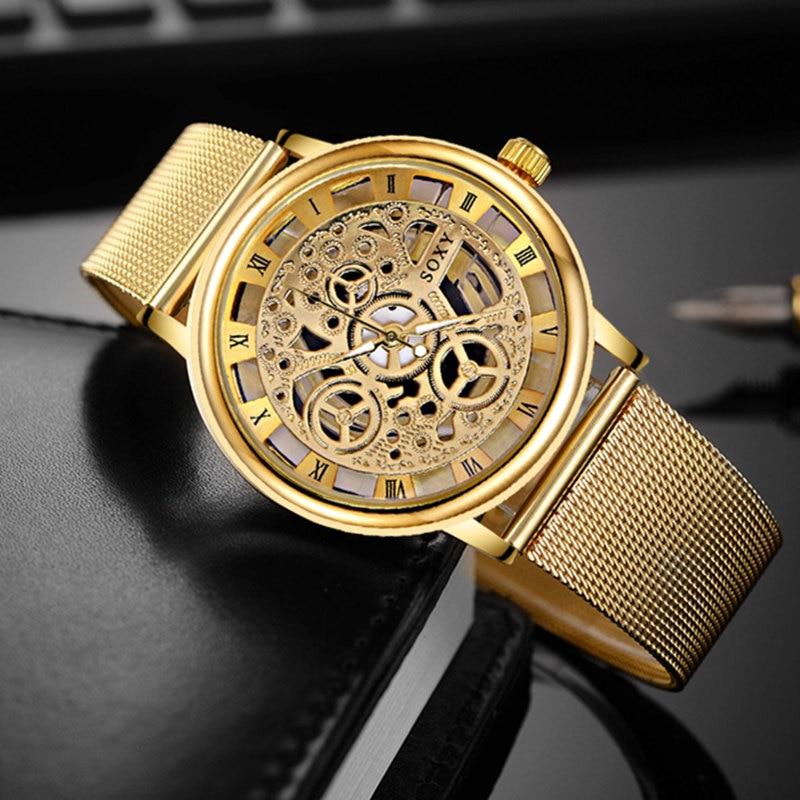 Golden Luxury Hollow Steel Watches Women Men Unisex Retro Relojes Hombre Quartz Wrist watch Fashion Luxury Clock Hot sale Watch